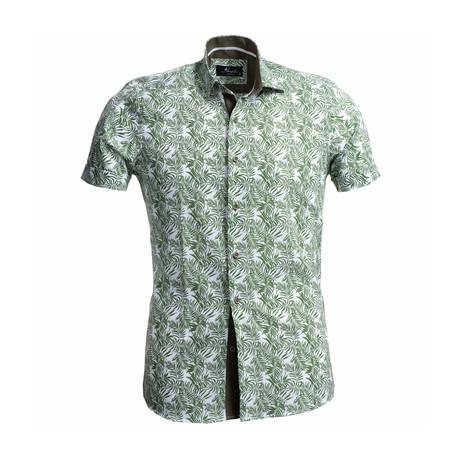 Floral Short Sleeve Button Down Shirt // Green (S)