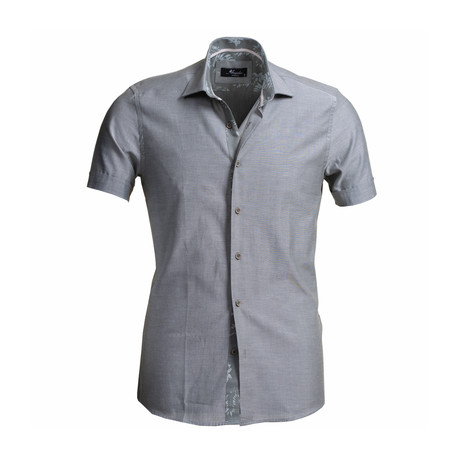 Solid Short Sleeve Button Down Shirt // Gray (S)