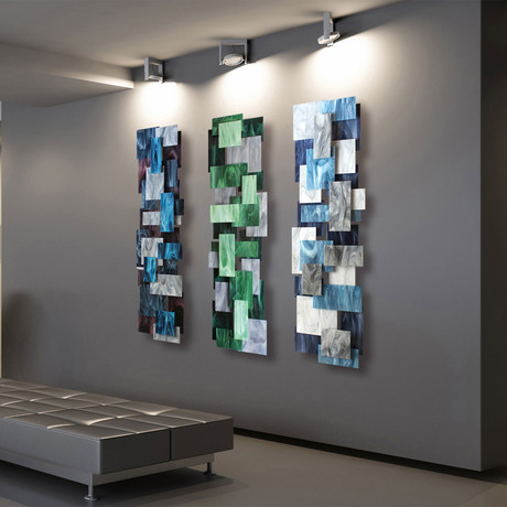 """Tryptic"" Glass and Metal Wall Sculpture"