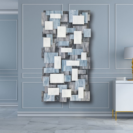 """Glacial"" Glass and Metal Wall Sculpture"