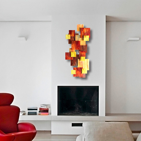 """Sunset TTS"" Glass and Metal Wall Sculpture"