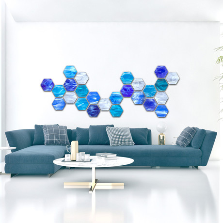"""Water Hex"" Glass Wall Sculpture"