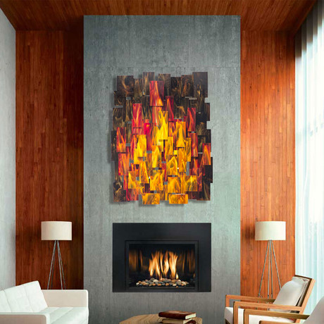 """Inferno"" Glass and Metal Wall Sculpture"