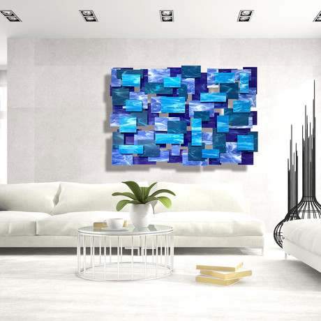 """Cascade"" Glass and Metal Wall Sculpture"