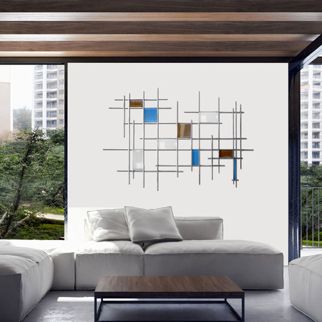 """Gridded"" Glass and Metal Wall Sculpture"