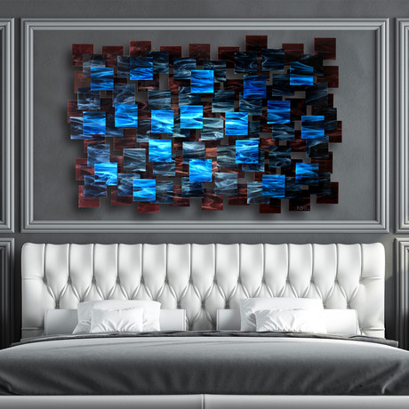 """Electric"" Glass and Metal Wall Sculpture"