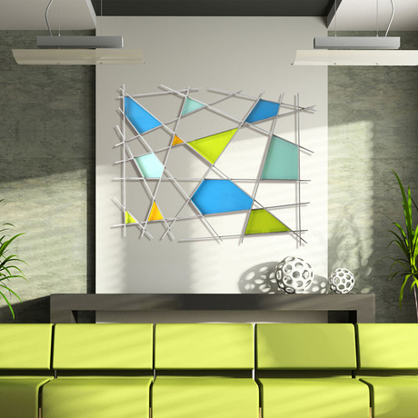 """Triangulation"" Glass and Metal Wall Sculpture"
