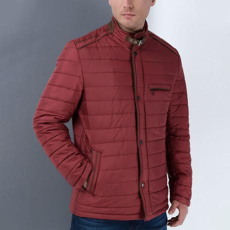 Ivan Slim Fit Coat // Burgundy (Small)