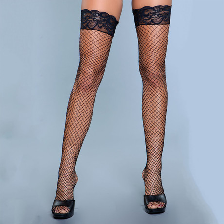 Amber Lace Top Fishnet Thigh Highs // Black // Set of 2