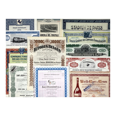 Vintage World Stock and Bond Certificate Collection // Set of 12