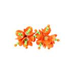 Women's Floral Clip On Earrings // Orange