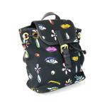 Women's Multicolor Designed Backpack // Black
