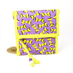 Women's Bow Designed Chain Bag // Purple + Yellow
