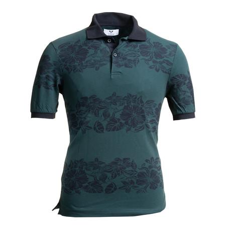 Simon Polo Shirt // Green + Black Floral (S)