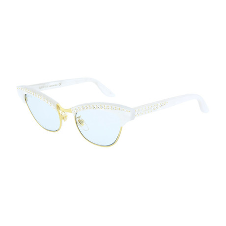 Women's Cat Eye Sunglasses // Shiny Pearl White + Crystal Strass + Gold