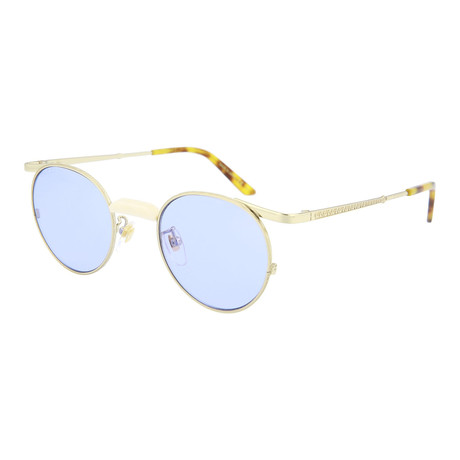 Men's Round Sunglasses // Shiny Endura Gold + Light Horn + Blue