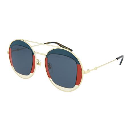 Women's Round Sunglasses // Gold + Blue