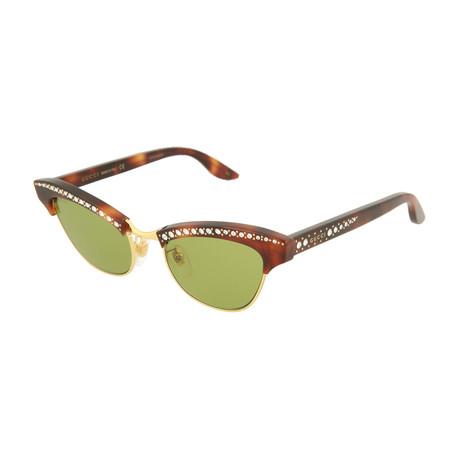 Women's Cat Eye Sunglasses // Shiny Havana + Gold + Green