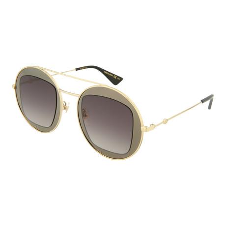 Women's Round Sunglasses // Shiny Dark Ruthenium + Shiny Endura Gold