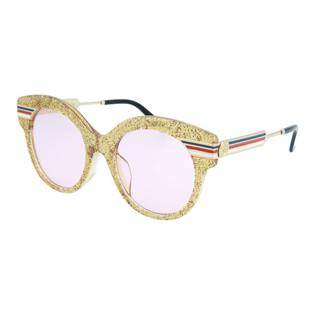 Women's Round Sunglasses // Shiny Glitter Gold + Light Purple