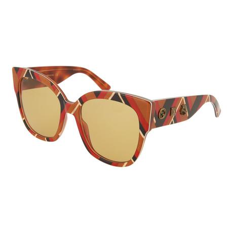 Women's Square Sunglasses // Shiny Chevron + Brown