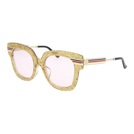 Women's Square Sunglasses // Shiny Glitter Gold + Light Purpler