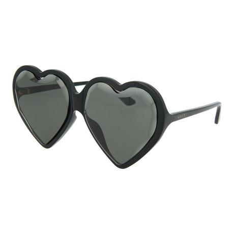 Women's Oversized Heart Sunglasses // Shiny Black