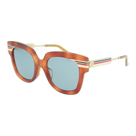 Women's Square Sunglasses // Shiny Blonde Havana + Blue