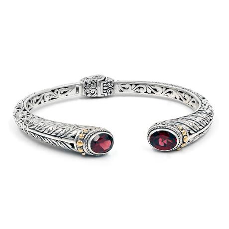 Women's Garnet Cuff // Silver + Red