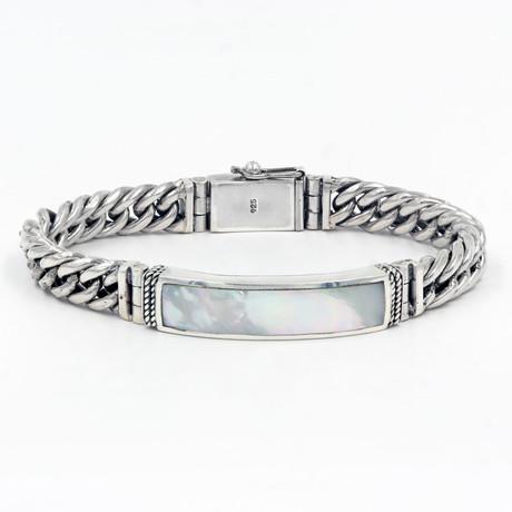Men's Mother of Pearl ID Bracelet // Silver + White
