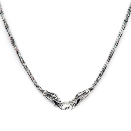 Men's Dragon Necklace // Silver