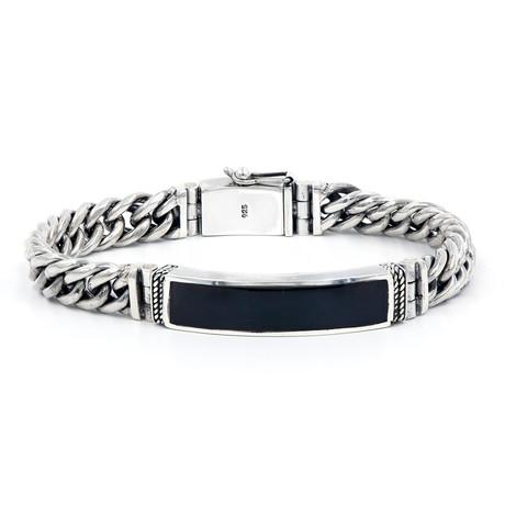 Men's Shell ID Bracelet // Silver + Black