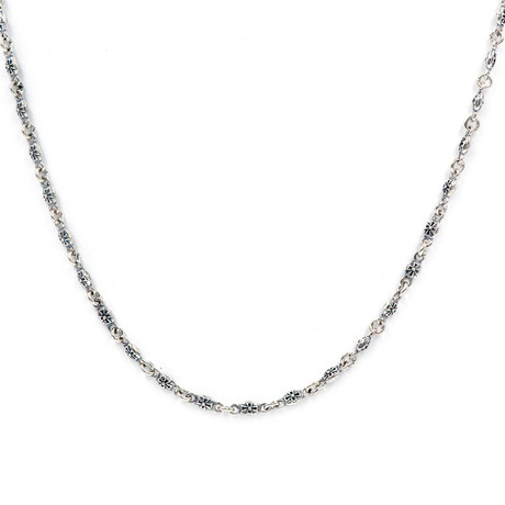 "Men's Crown Pattern Link Chain // Silver (20""L // 17.5g)"