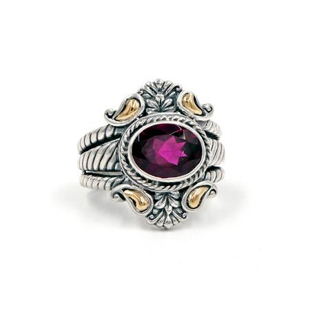 Women's Rhodolite Garnet Ring // Silver + Red (6)
