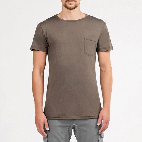 Crew Neck Pocket T-Shirt // Taupe (S)