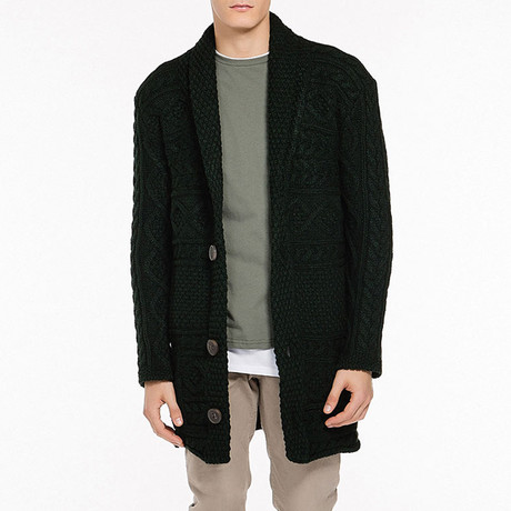 Two-Button Shawl Collar Cardigan // Forest Green (S)