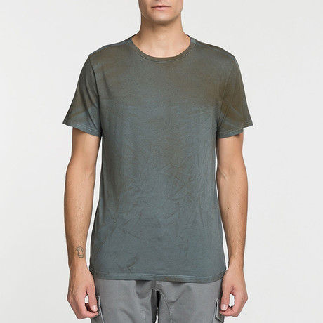 Crew Neck Powder Effect T-Shirt // Charcoal (S)