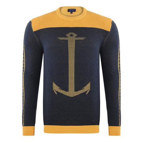 Anchor Pullover // Mustard + Navy (S)