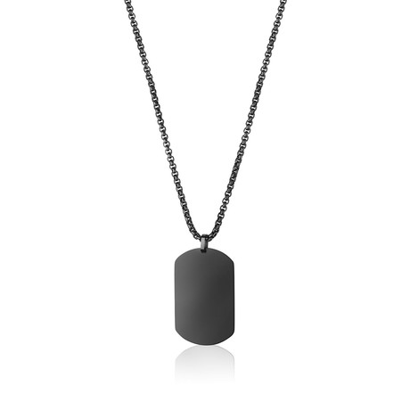 Matte Dog Tag Necklace // Black
