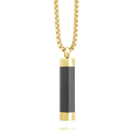 Hexagon Urn Pendant Necklace // Gold
