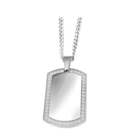 Cubic Zirconia Border Dog Tag Necklace // Silver