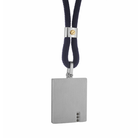 Brushed Dog Tag + Cord Necklace // Silver + Navy Blue