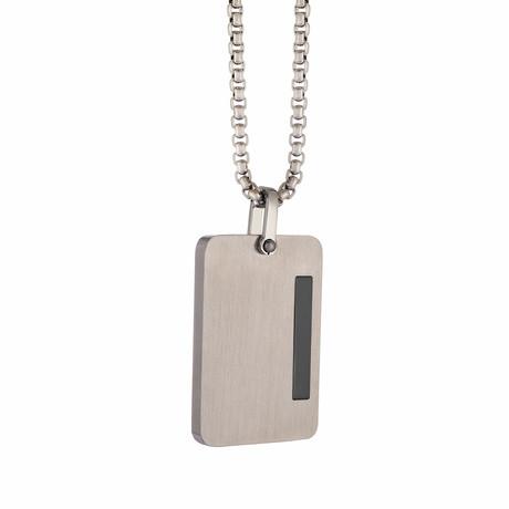 Brushed + Polished Line Dog Tag Necklace // Silver + Black