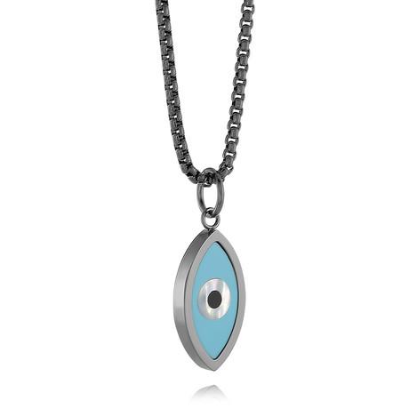 Evil Eye Pendant Necklace // Light Blue