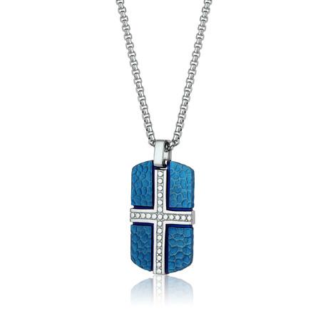 Hammered Dog Tag Necklace // Blue