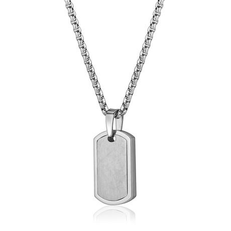 Matte + Polished Dog Tag Necklace // Silver
