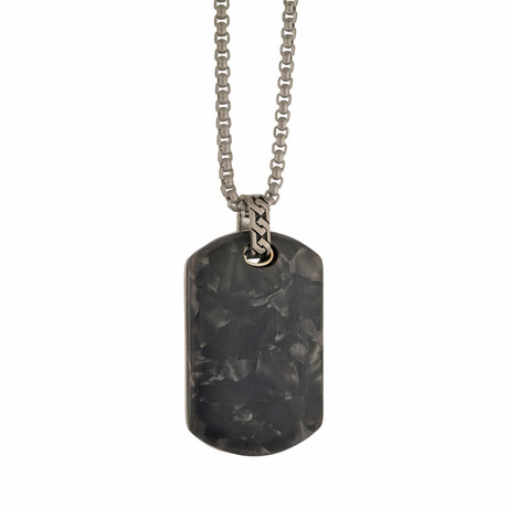 Special Stone Dog Tag Necklace // Black