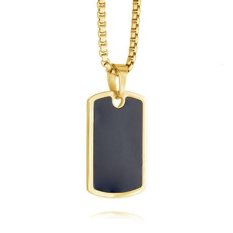 Matte Center Dog Tag Necklace // Gold + Black