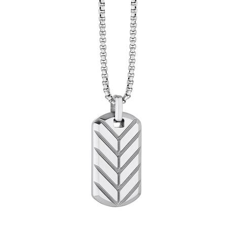 Reversible Chevron Dog Tag Necklace // Silver