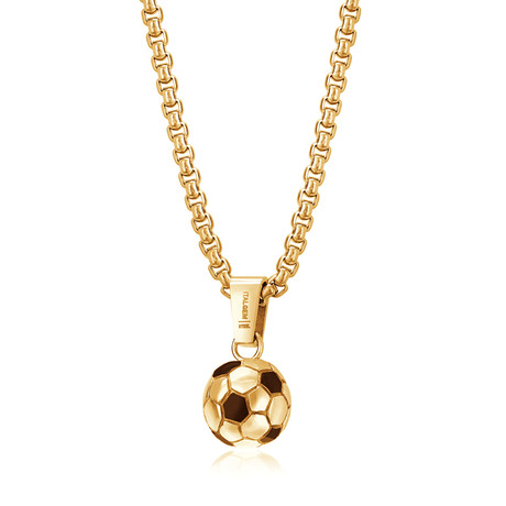 Soccer Ball Pendant Necklace // Gold